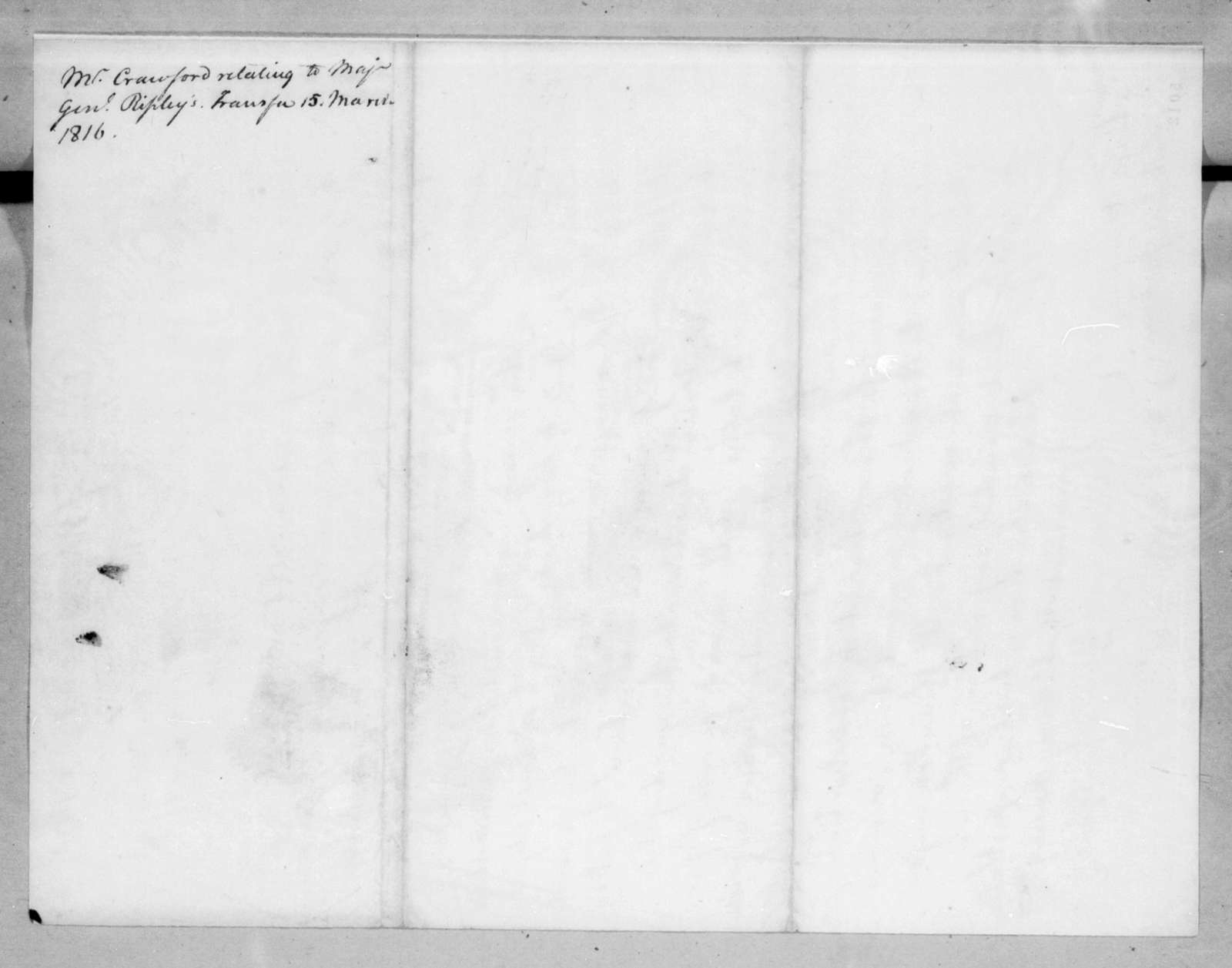 William Harris Crawford to Andrew Jackson, March 15, 1816