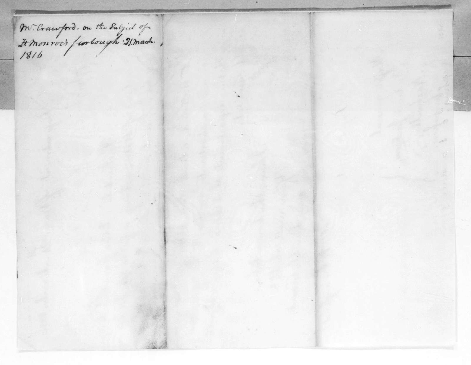 William Harris Crawford to Andrew Jackson, March 21, 1816