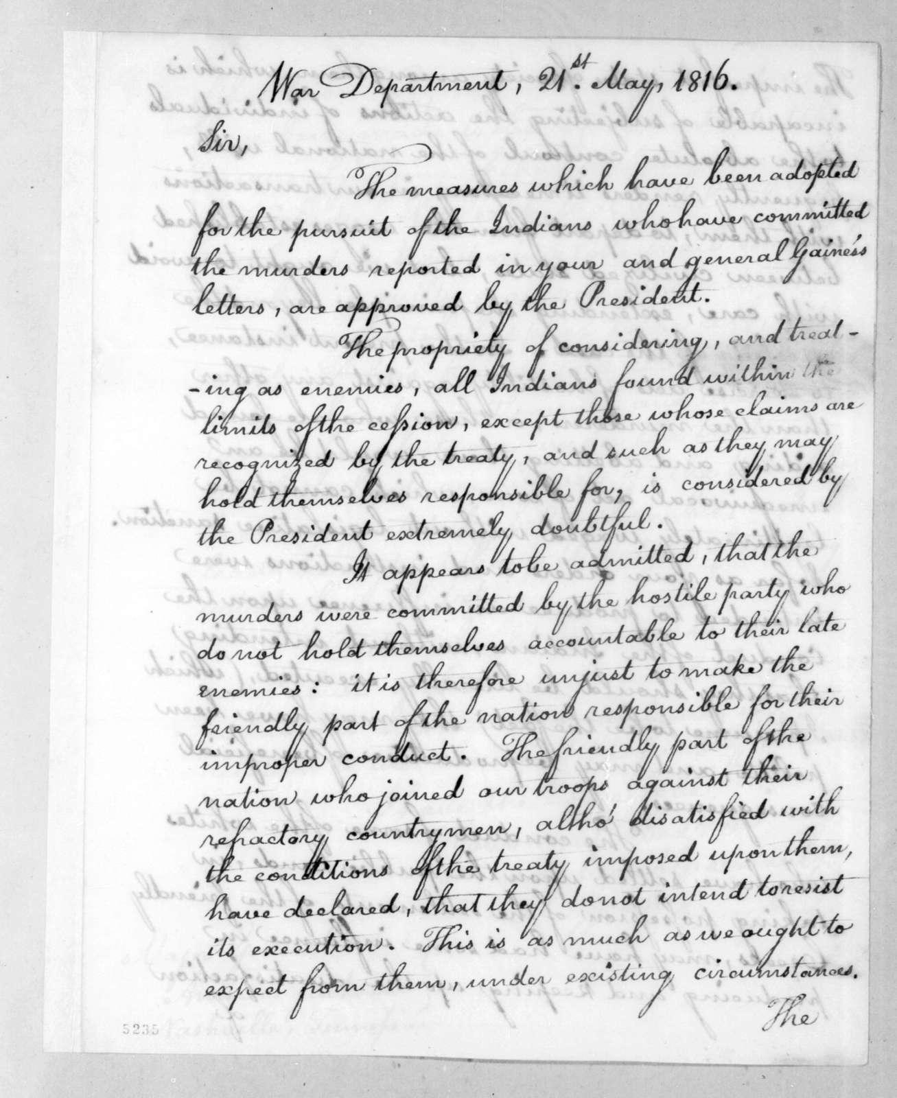 William Harris Crawford to Andrew Jackson, May 21, 1816