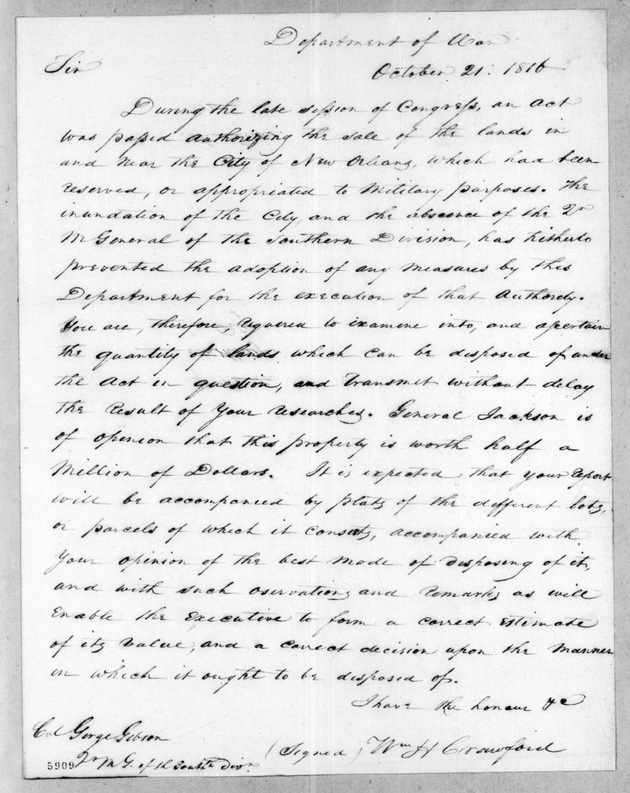 William Harris Crawford to George Gibson, October 21, 1816
