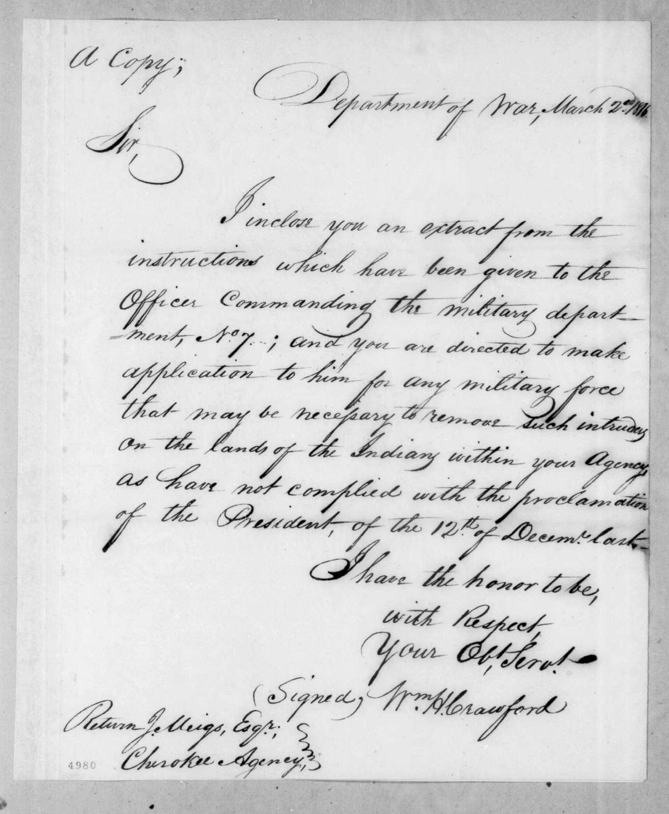William Harris Crawford to Return Jonathan Meigs, March 2, 1816