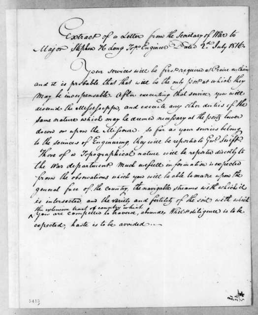 William Harris Crawford to Stephen Harriman Long, July 2, 1816