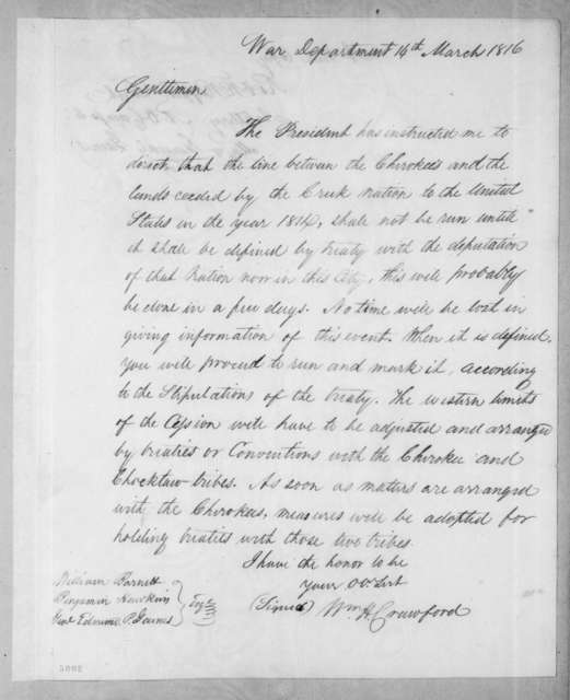 William Harris Crawford to William Barnett, March 14, 1816