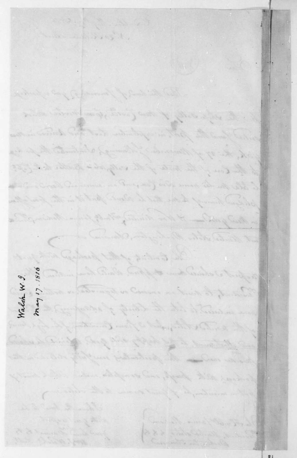 William J. Walsh to James Madison, May 17, 1816.