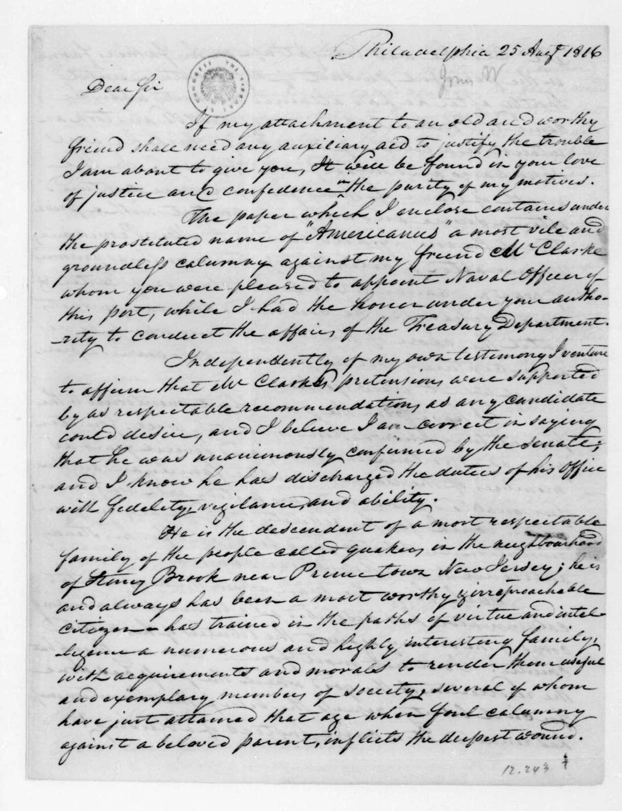 William Jones to James Madison, August 25, 1816.