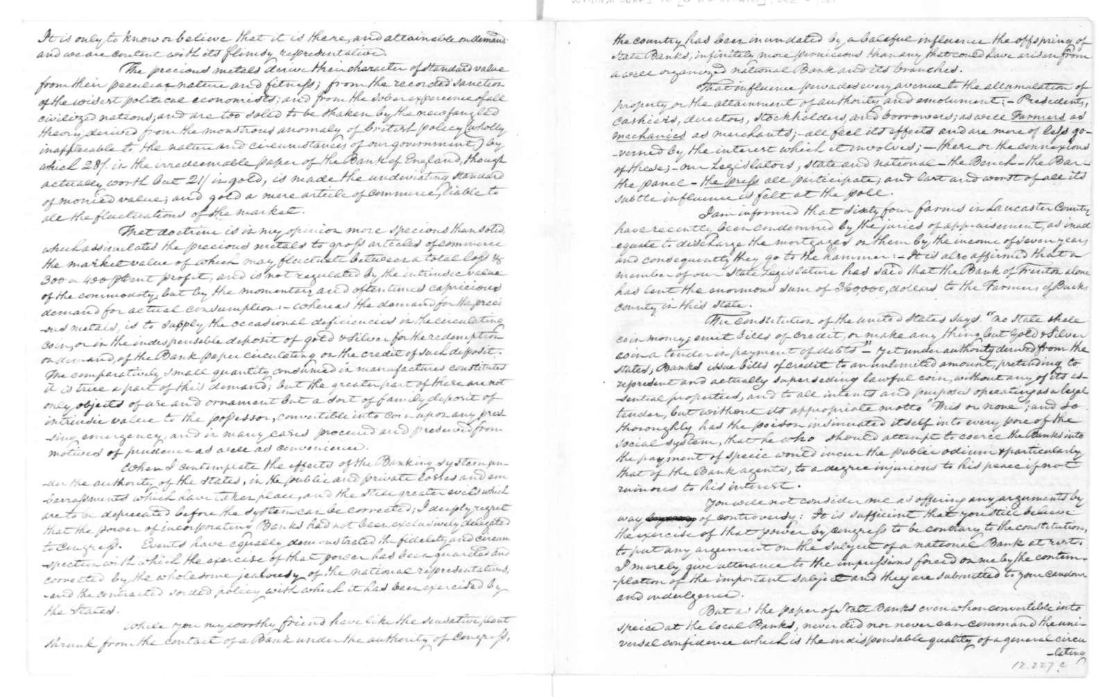 William Jones to James Madison, January 1, 1816.