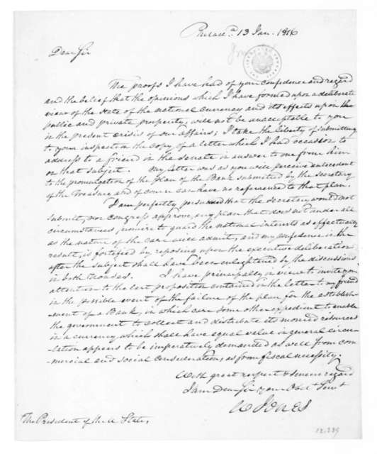 William Jones to James Madison, January 13, 1816. With Bank Project.