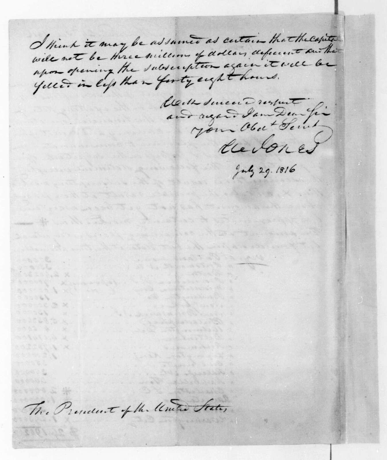 William Jones to James Madison, July 29, 1816.