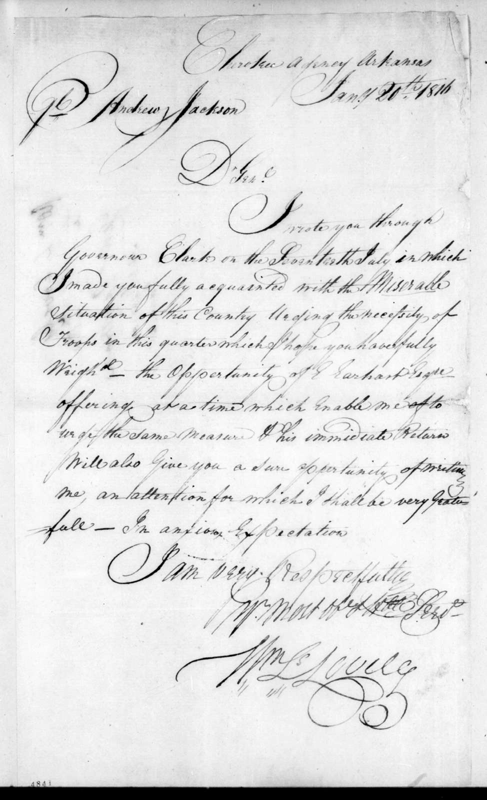 William L. Lovely to Andrew Jackson, January 20, 1816