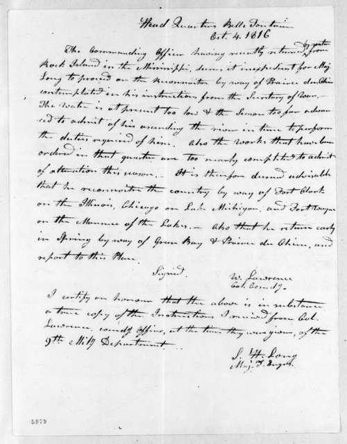 William Lawrence to Stephen Harriman Long, October 4, 1816