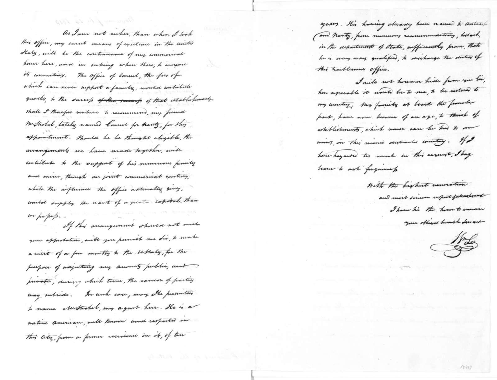 William Lee to James Madison, February 16, 1816.