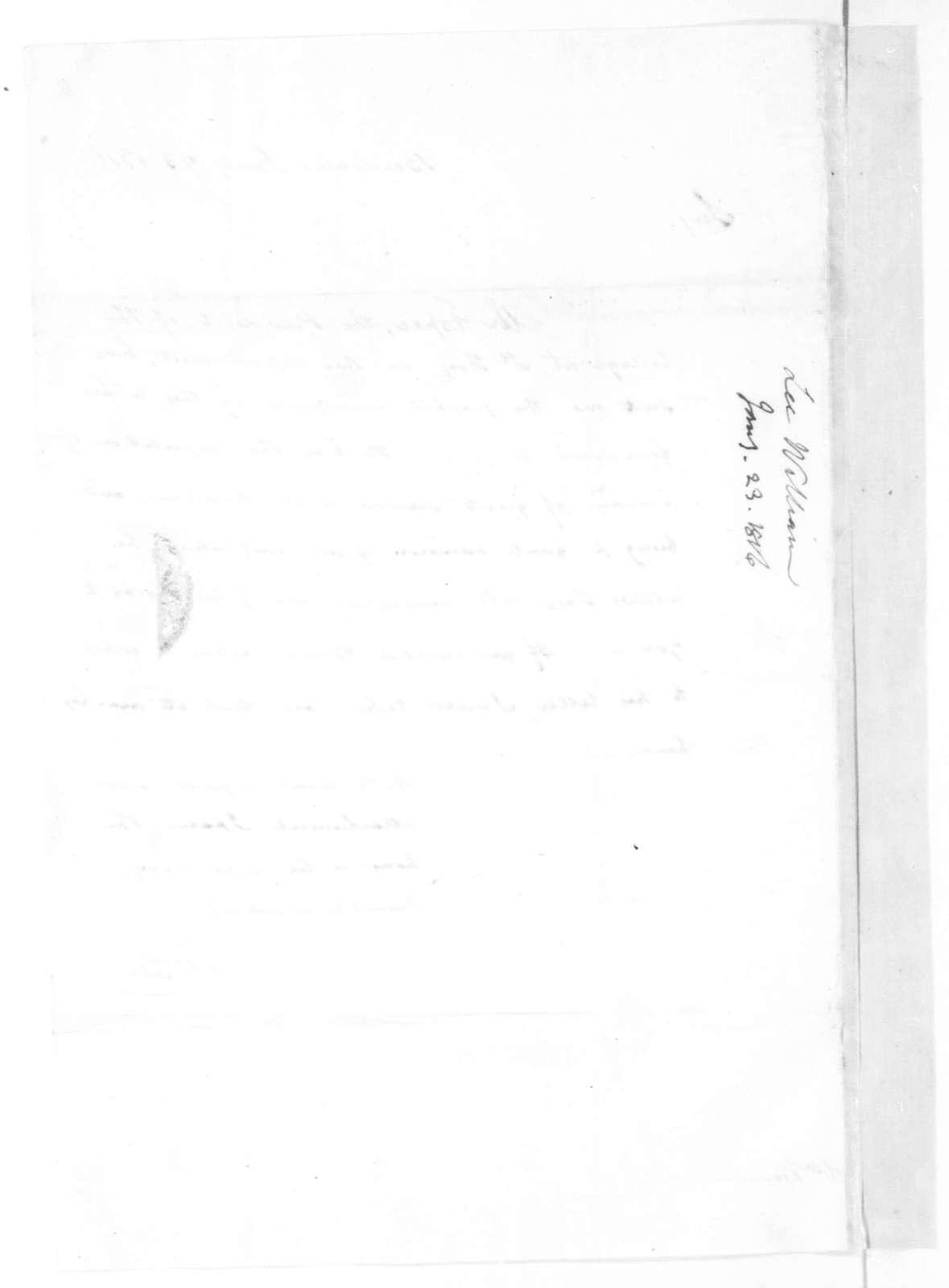 William Lee to James Madison, January 23, 1816.