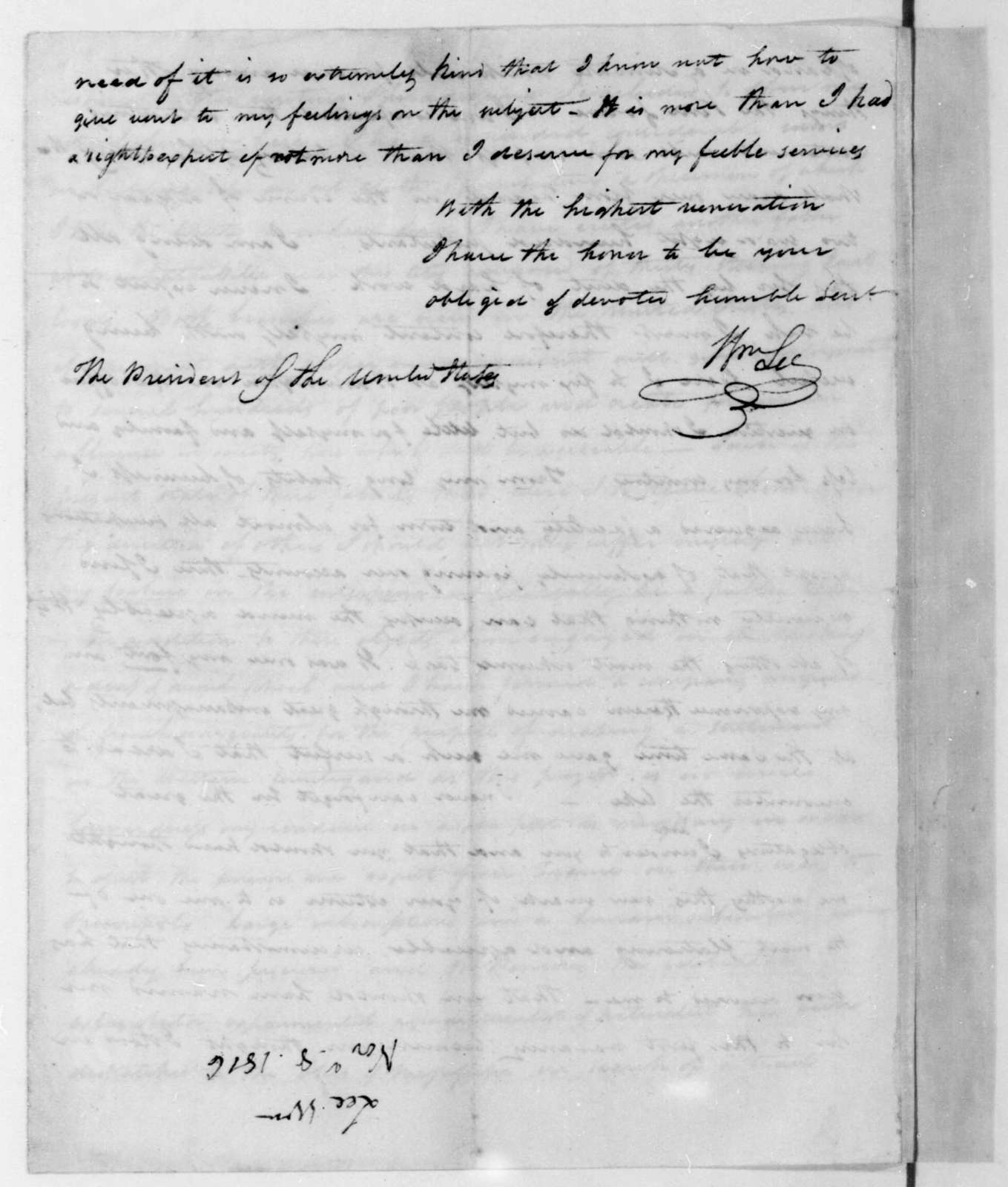 William Lee to James Madison, November 8, 1816.