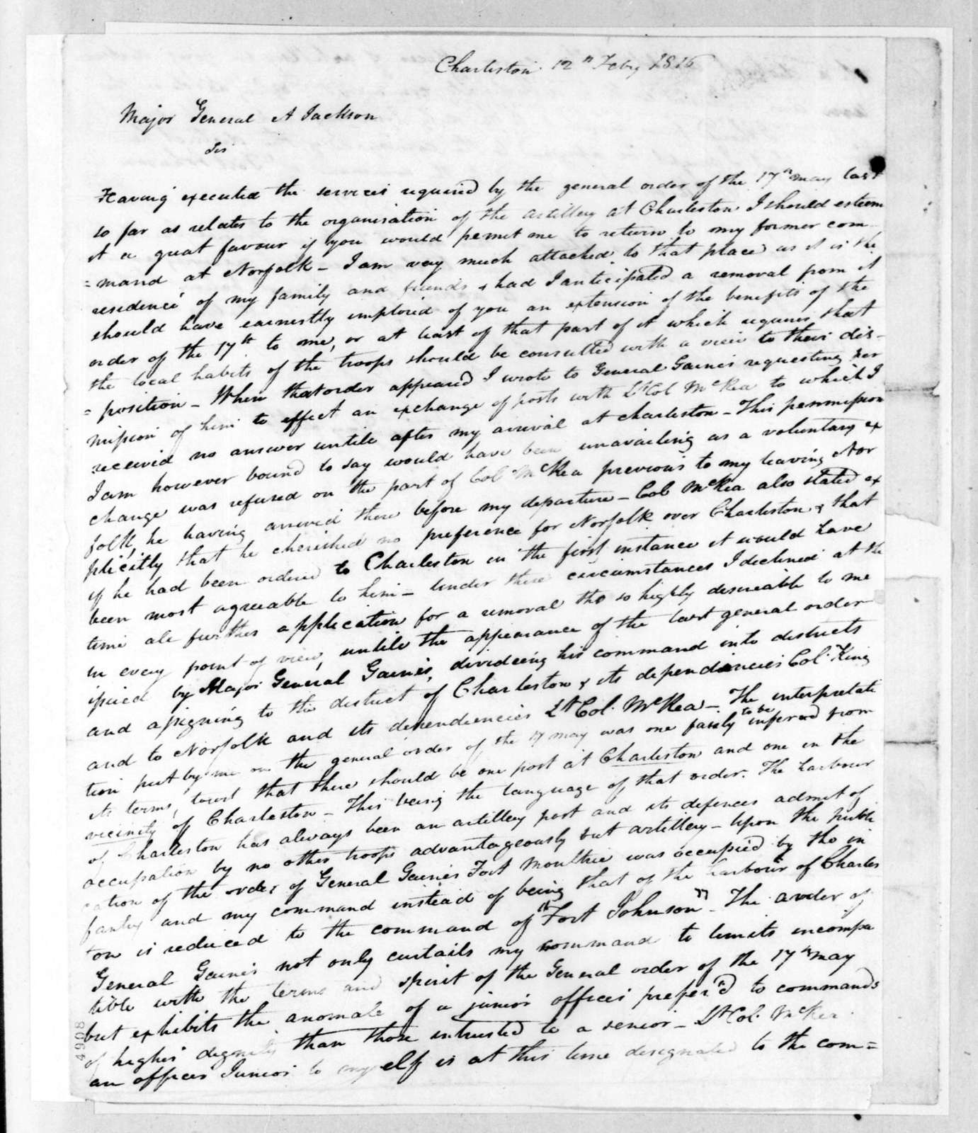 William Lindsay to Andrew Jackson, February 12, 1816