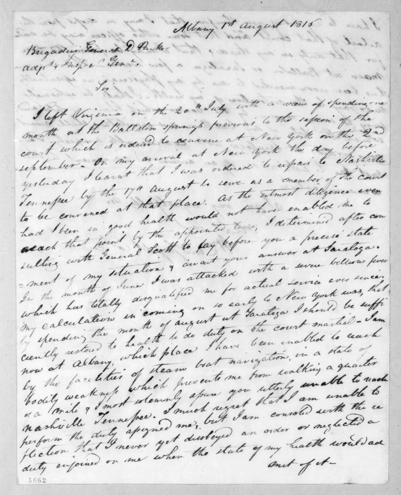 William Lindsay to Daniel Parker, August 1, 1816