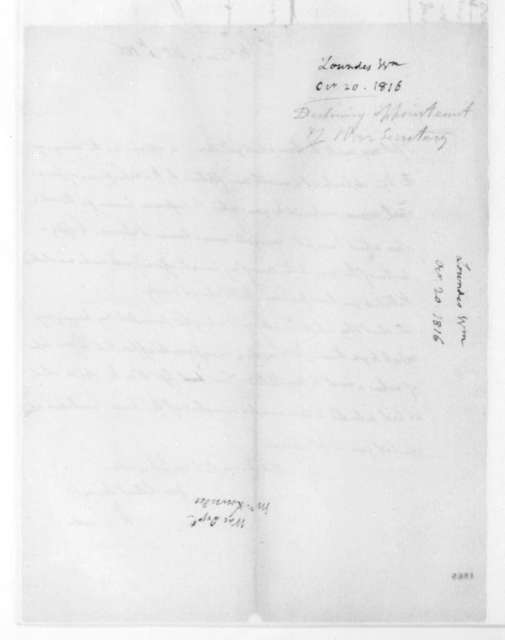 William Lowndes to James Madison, October 20, 1816.