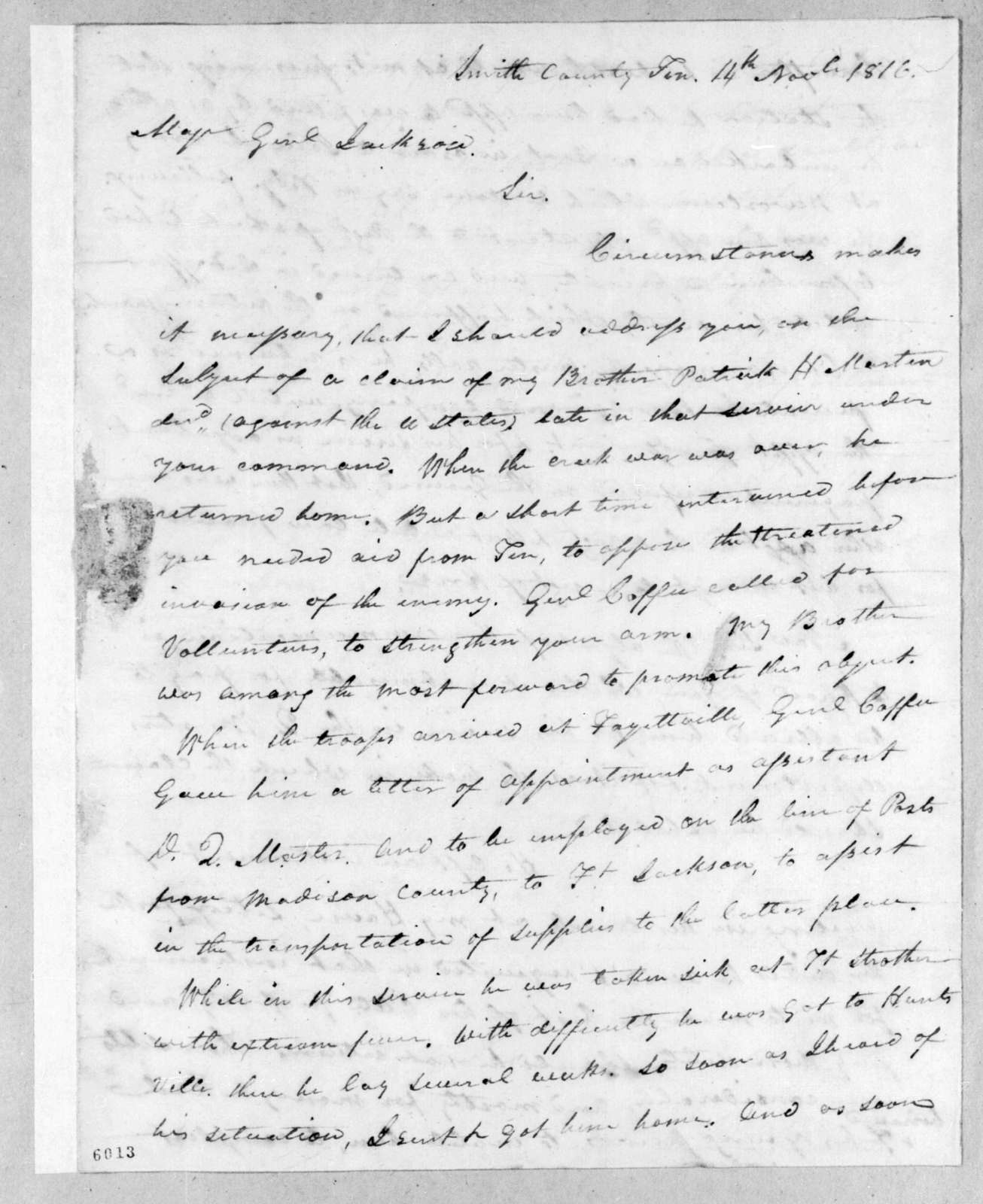 William Martin to Andrew Jackson, November 14, 1816