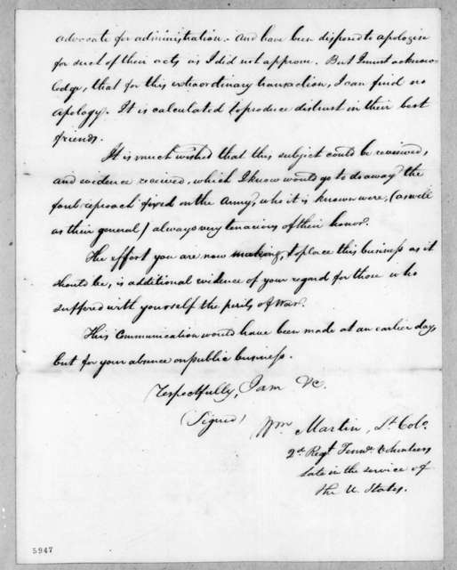 William Martin to Andrew Jackson, October 31, 1816
