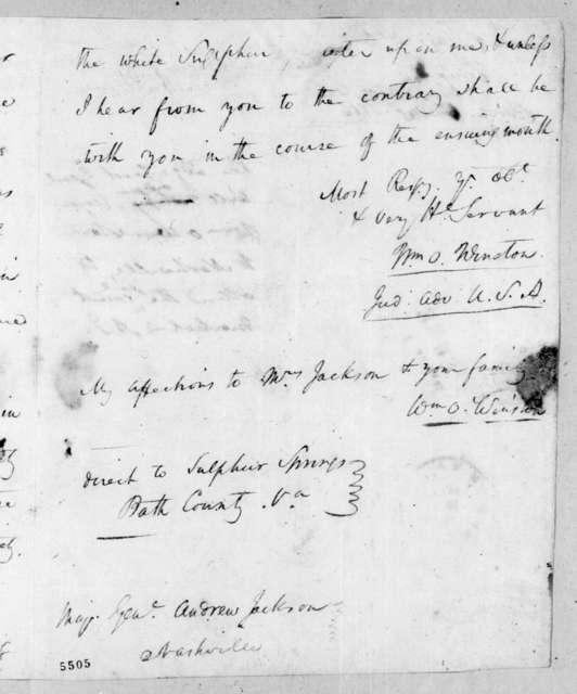 William O. Winston to Andrew Jackson, July 18, 1816