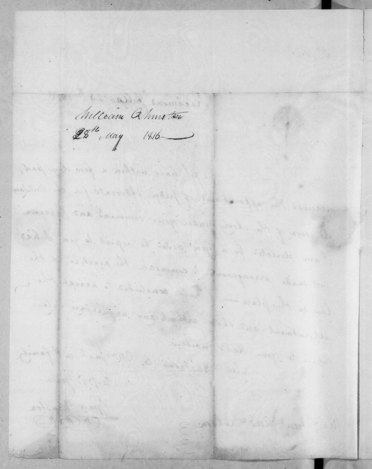 William O. Winston to Andrew Jackson, May 28, 1816