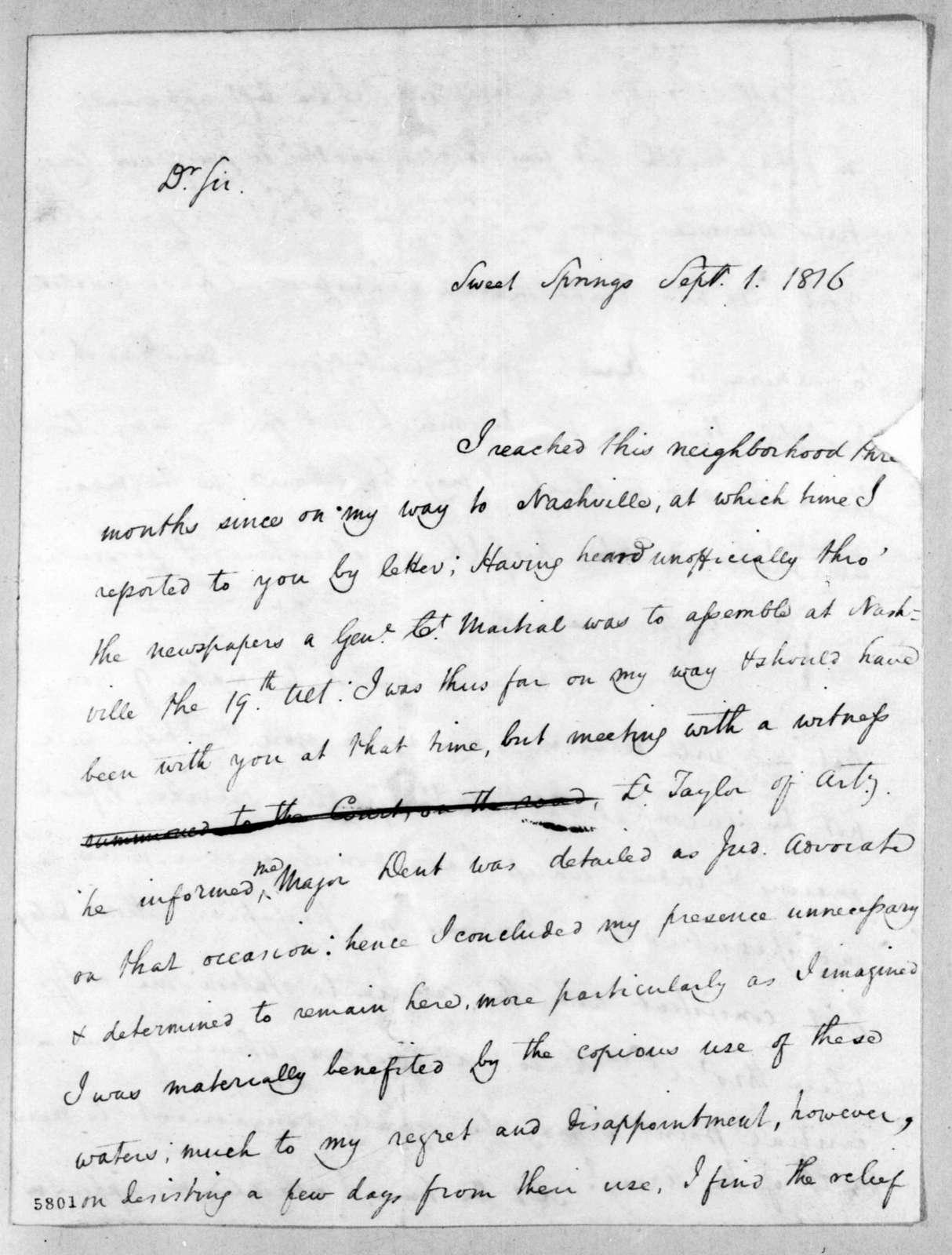William O. Winston to Andrew Jackson, September 1, 1816