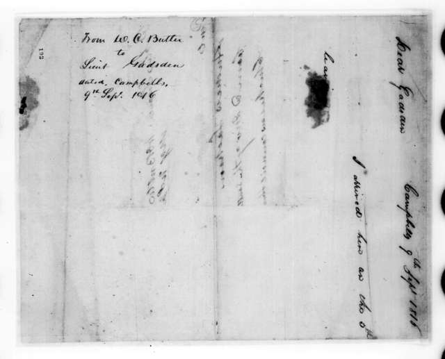 William Orlando Butler to James Gadsden, September 9, 1816