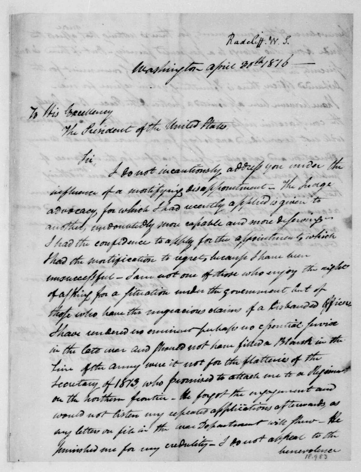 William S. Radcliff to James Madison, April 30, 1816.