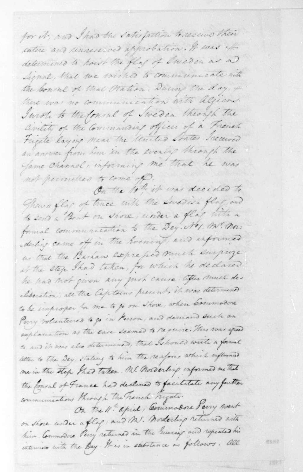 William Shaler to James Monroe, April 15, 1816.