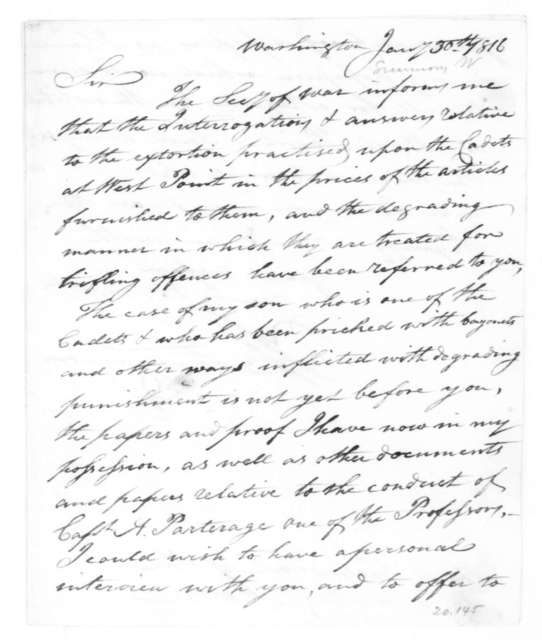 William Simmons to James Madison, January 30, 1816.