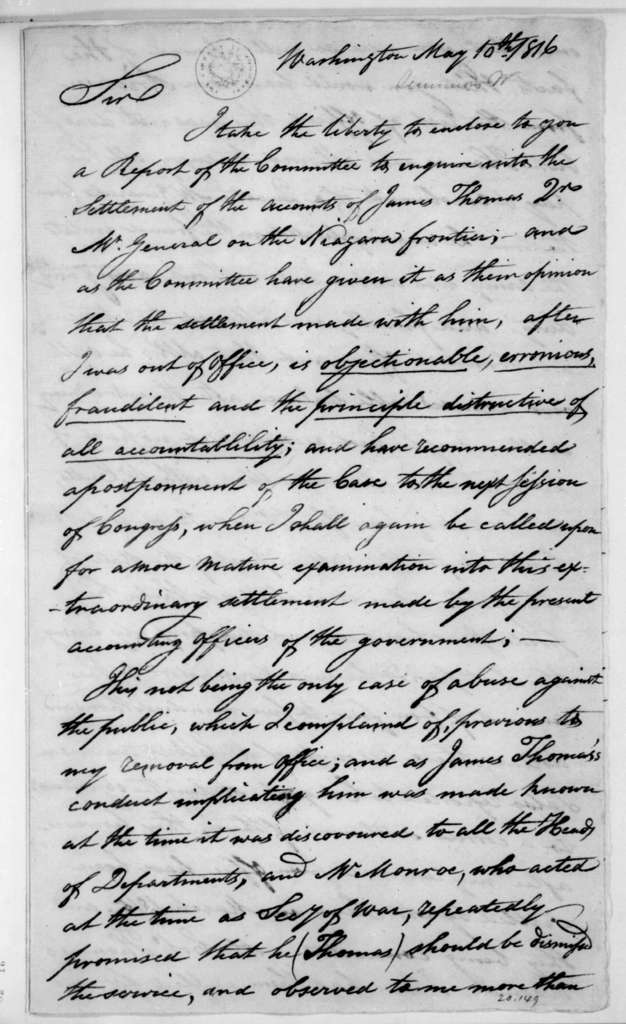 William Simmons to James Madison, May 10, 1816.