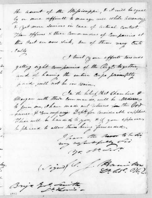 William Southerland Hamilton to Thomas Adams Smith, February 4, 1816