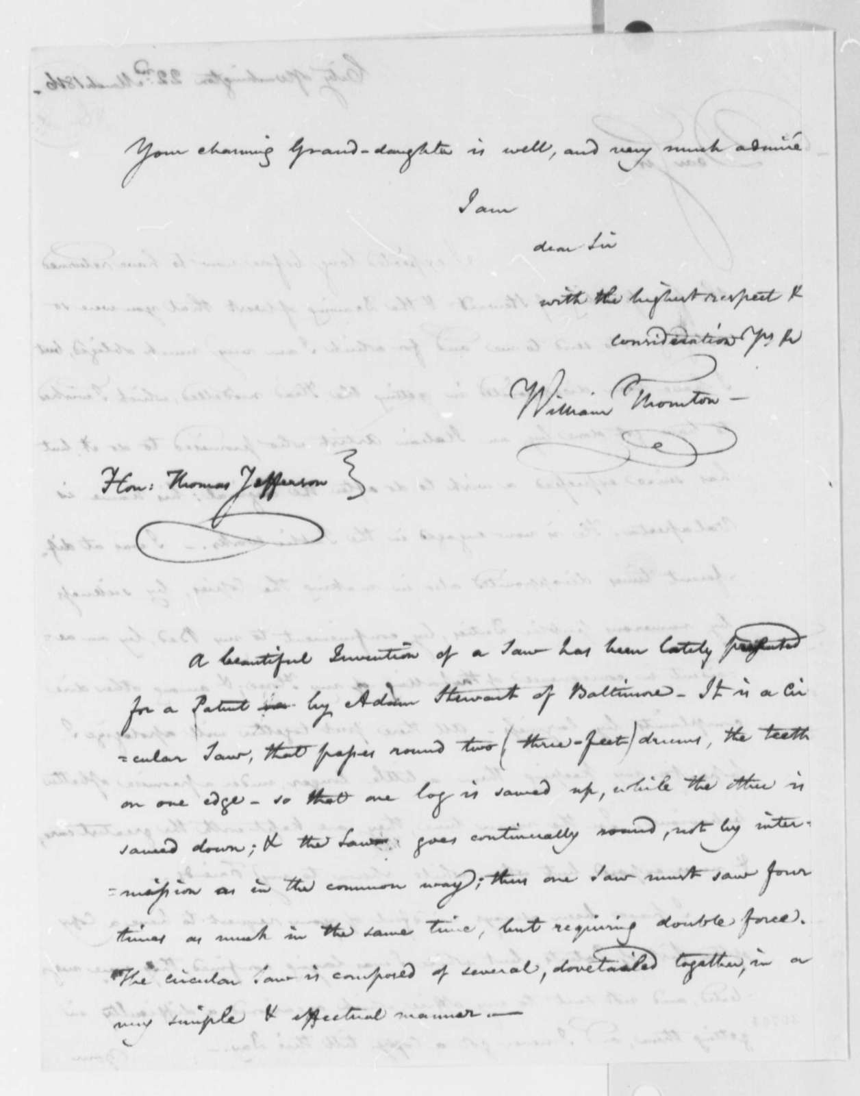 William Thornton to Thomas Jefferson, March 22, 1816, with Drawing