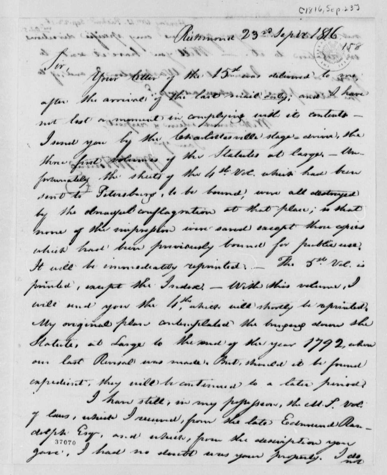 William Waller Hening to Thomas Jefferson, September 23, 1816