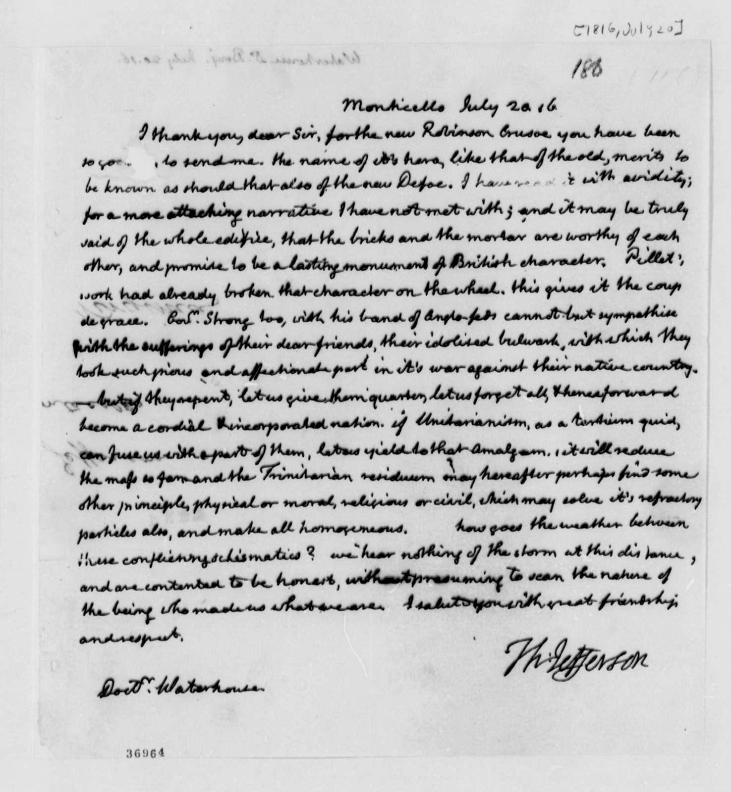 William Waterhouse to Thomas Jefferson, July 20, 1816