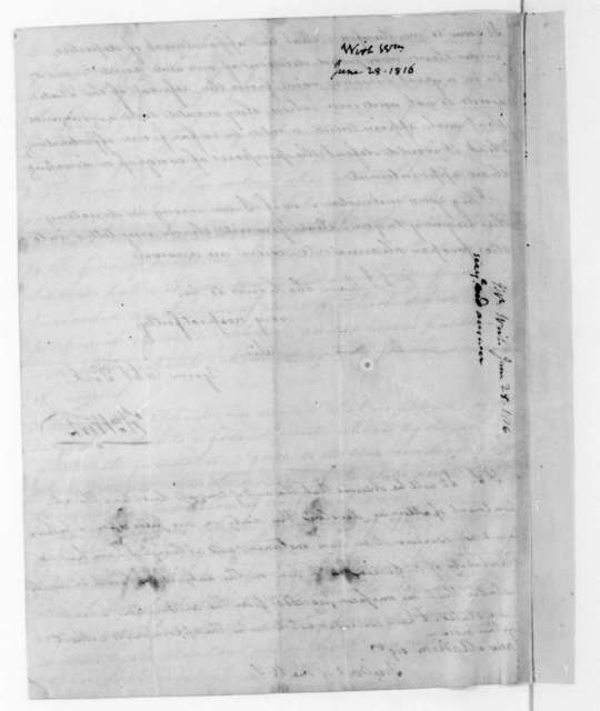 William Wirt to James Madison, June 21, 1816. Docketed JE 28.