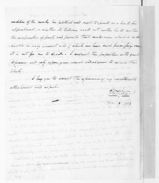 William Wirt to James Madison, March 10, 1816.