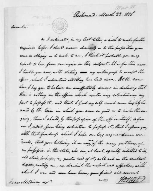 William Wirt to James Madison, March 23, 1816.