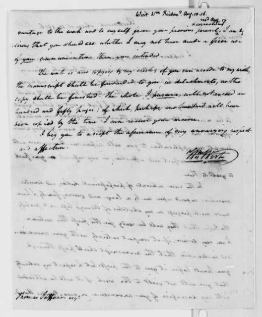 William Wirt to Thomas Jefferson, August 10, 1816