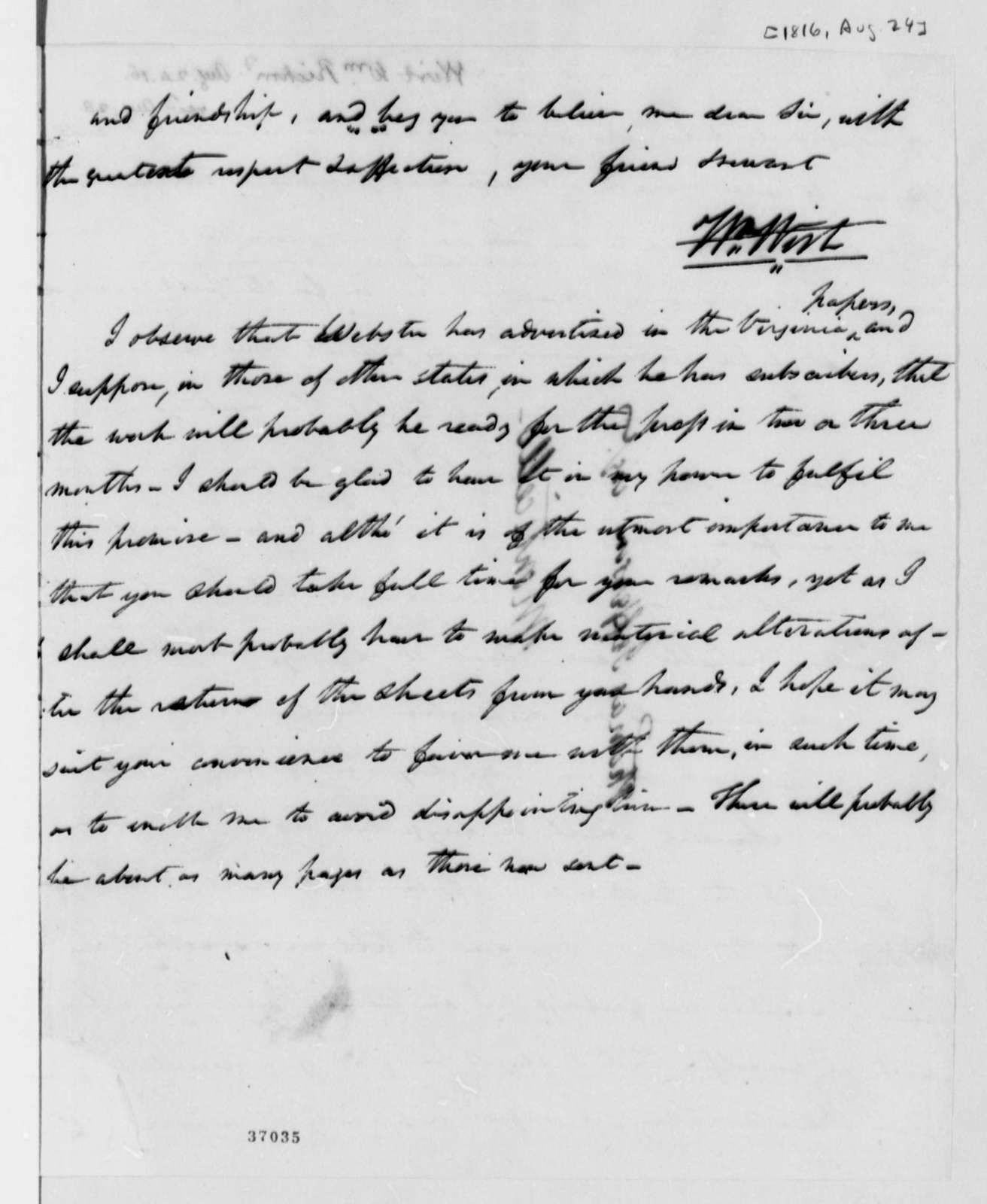 William Wirt to Thomas Jefferson, August 24, 1816