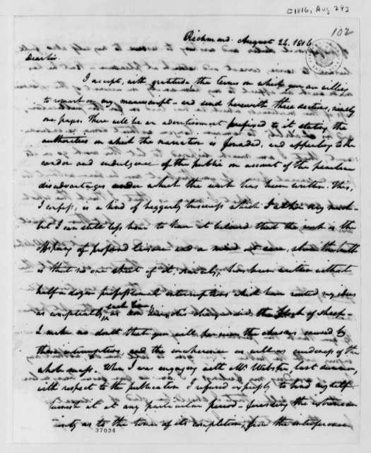 William Wirt to Thomas Jefferson, August 24, 1816