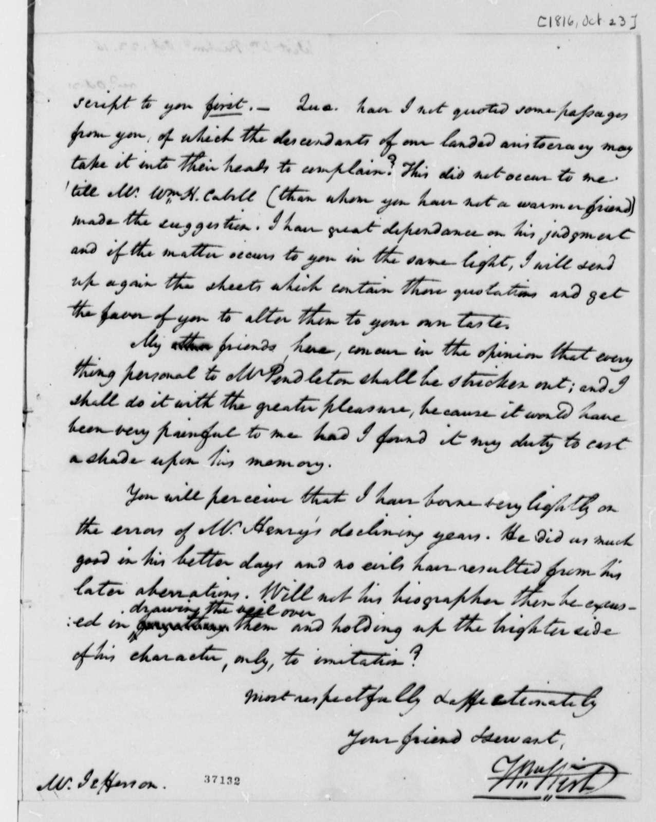 William Wirt to Thomas Jefferson, October 23, 1816