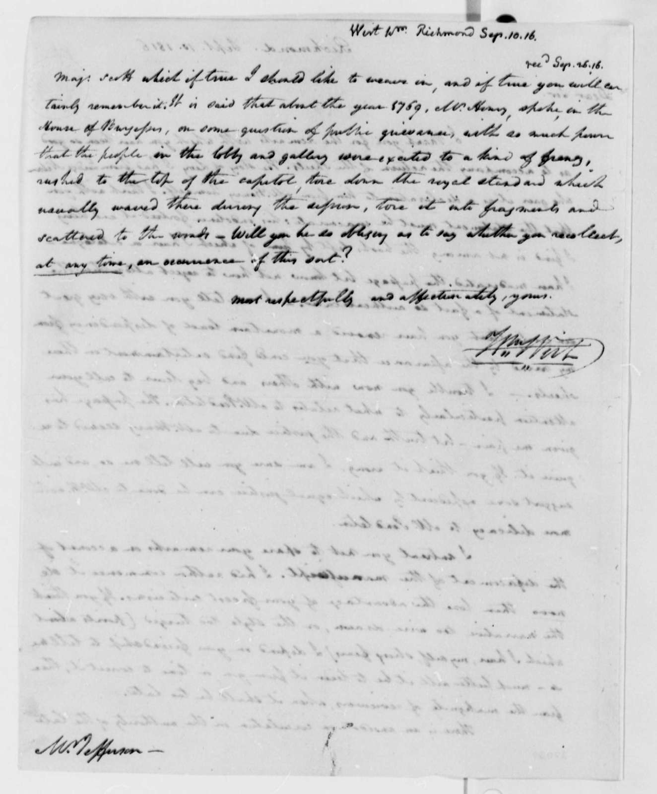 William Wirt to Thomas Jefferson, September 10, 1816
