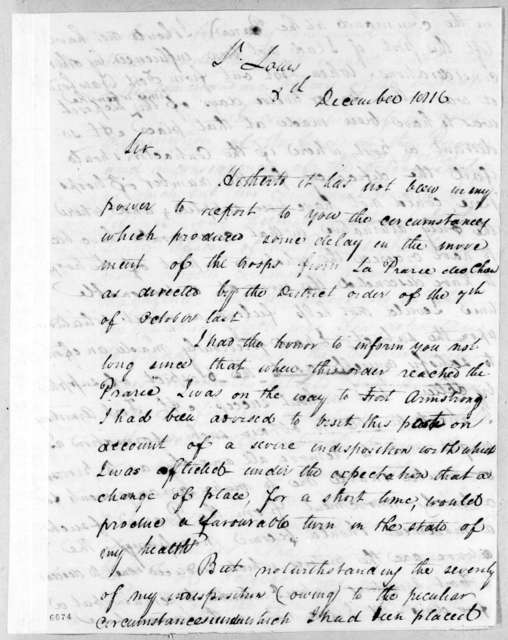 Willoughby Morgan to Andrew Jackson, December 8, 1816
