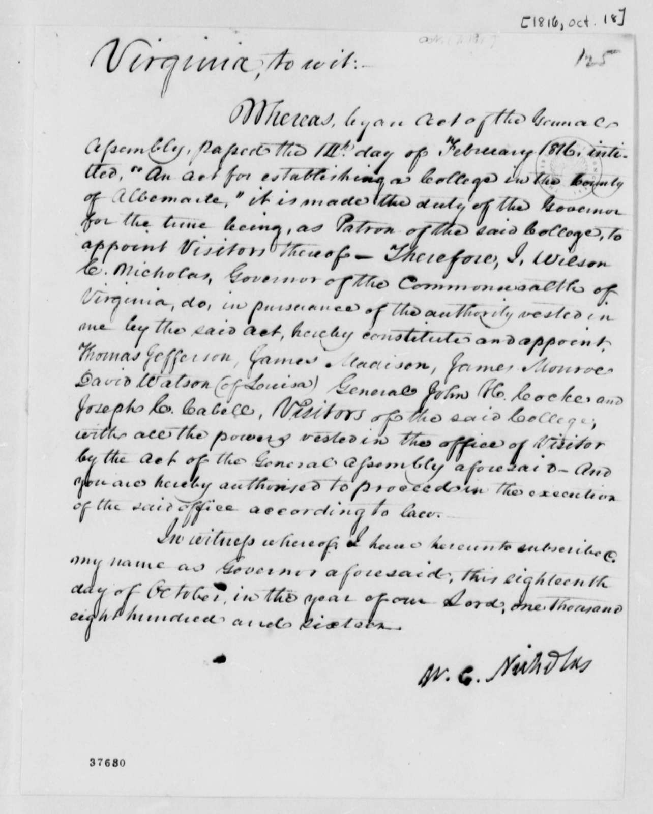Wilson Cary Nicholas, October 18, 1816, Central College Appointment