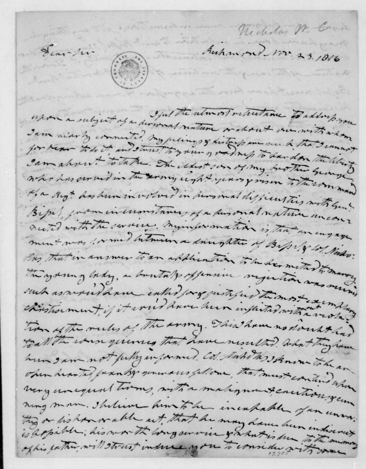 Wilson Cary Nicholas to James Madison, November 23, 1816.