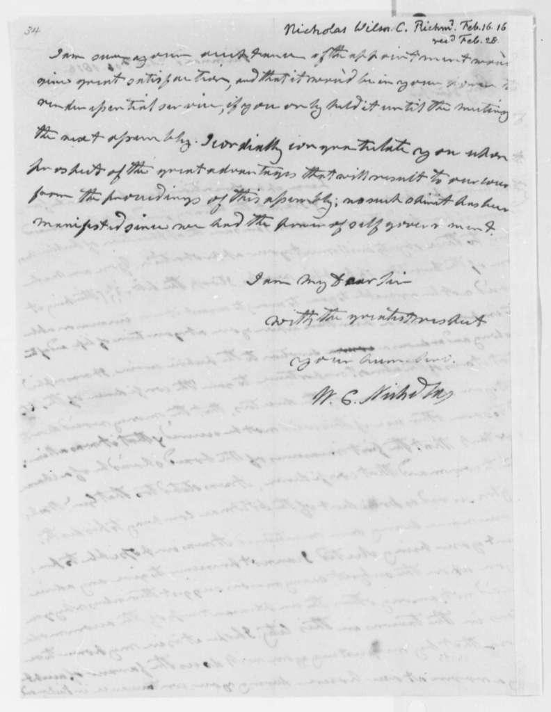 Wilson Cary Nicholas to Thomas Jefferson, February 16, 1816