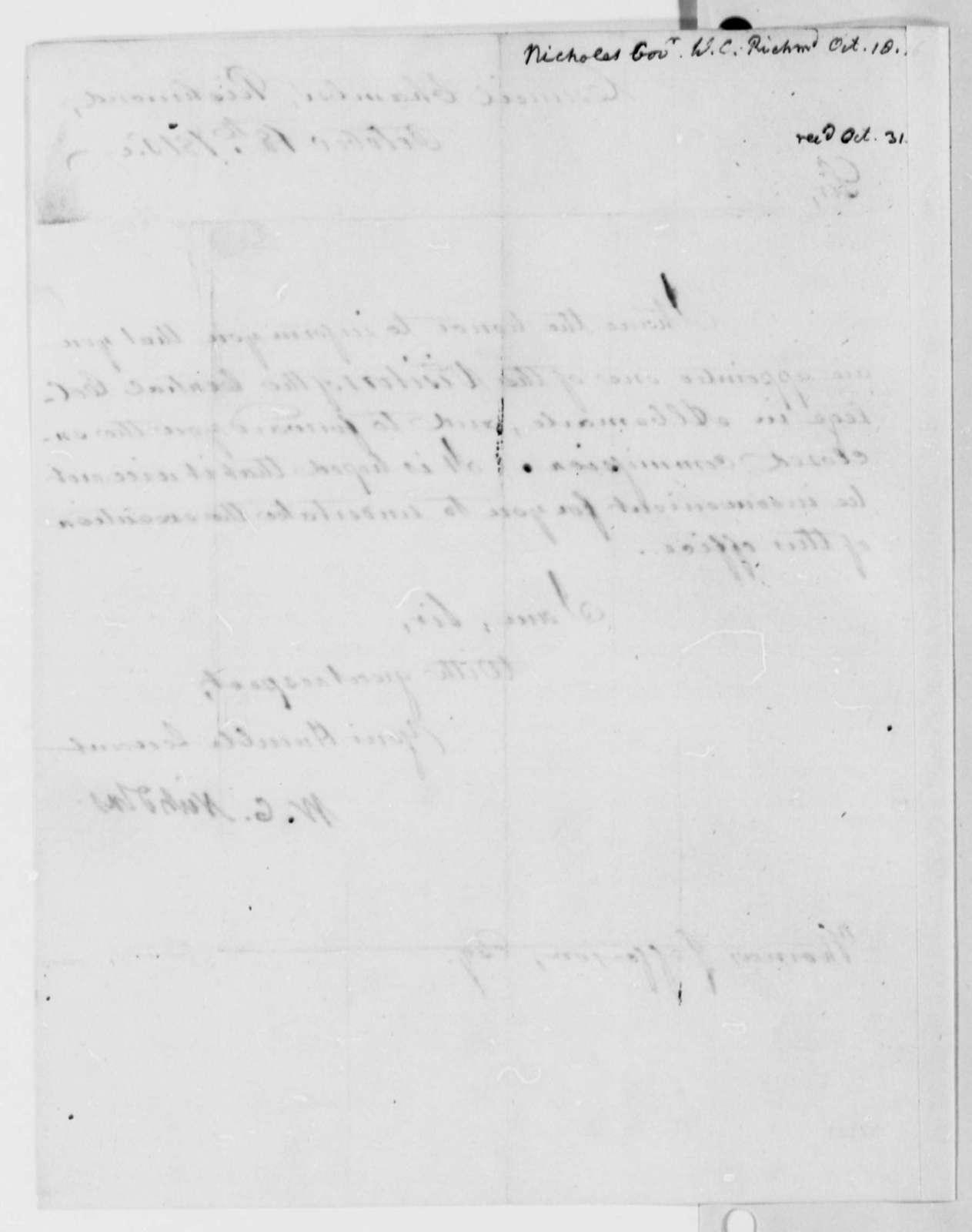 Wilson Cary Nicholas to Thomas Jefferson, October 18, 1816