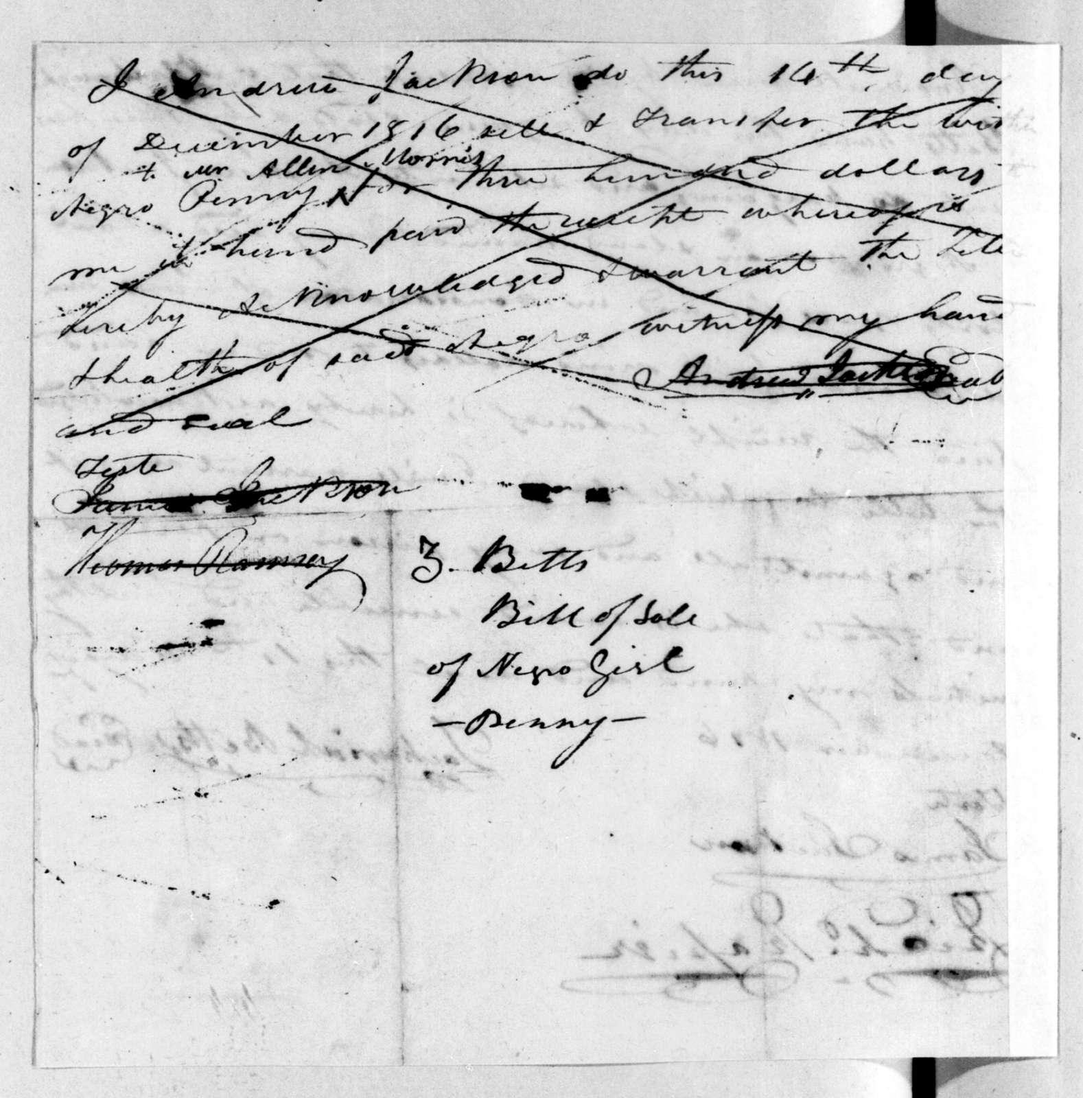 Zachariah Betts to Andrew Jackson, December 14, 1816