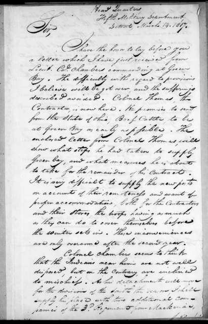 Alexander Macomb to George Graham, March 14, 1817