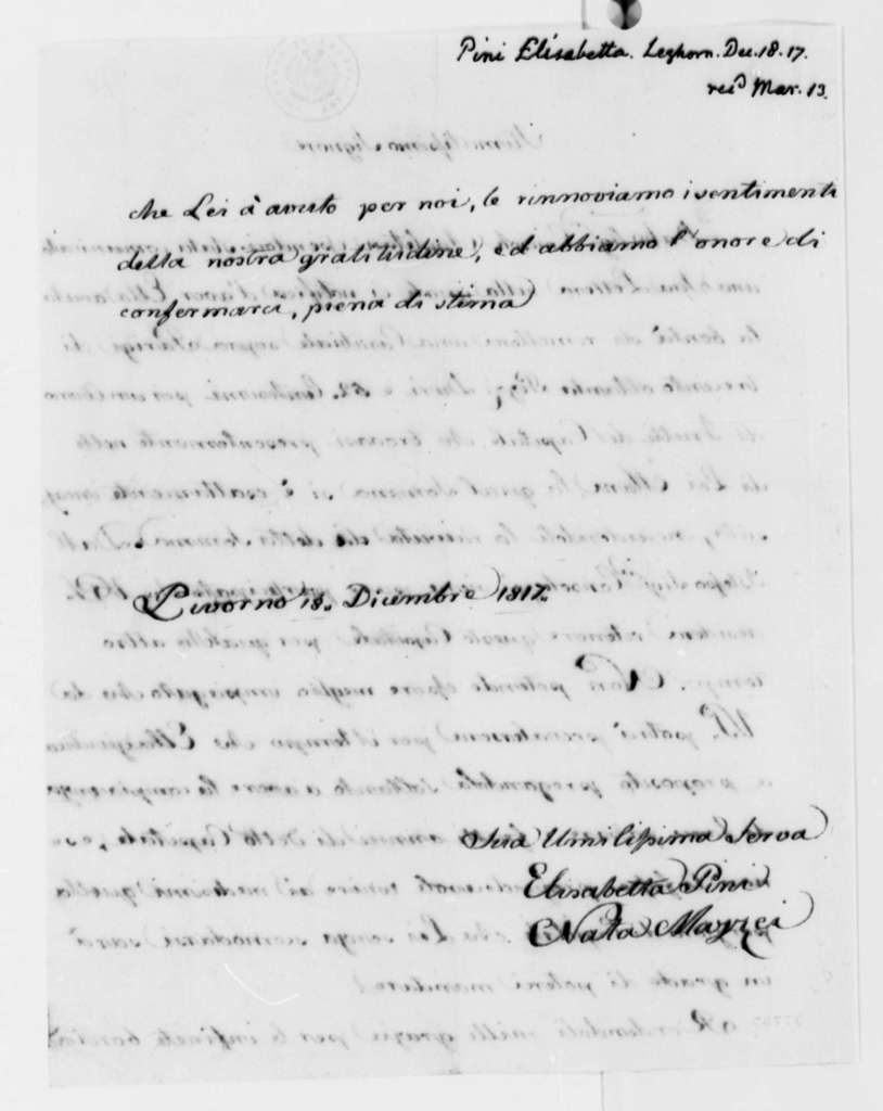 Andrea Pini to Thomas Jefferson, December 18, 1817, in French